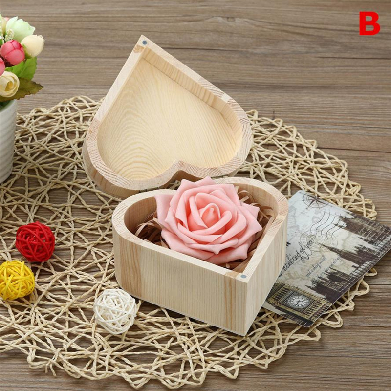 2018 new Fashion Portable Heart Shaped Wooden Storage Box Jewelry Wedding Gift Case Reusable  Box Hot selling good quality C020808