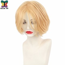 HAIR SW Short Layered Honey Blonde Men's Wigs Synthetic With Long Bangs Bob Hairstyle For Cosplay(China)