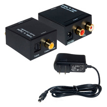 Analog to Digital Audio Converter Adapter RCA Cable SPDIF Optical Toslink to coaxial connector with Power Adapter EU/US