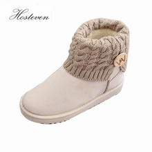 Women's Boots Winter Warm Snow Boots Mid Calf Boots Women Ladies Girls Thick Plush Flock Women Shoes(China)