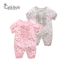 CalaBob Baby Girl Rompers Summer Short Sleeve Newborn Baby Girl Clothes Strawberry Printed Toddler Jumpsuit Infant Clothing
