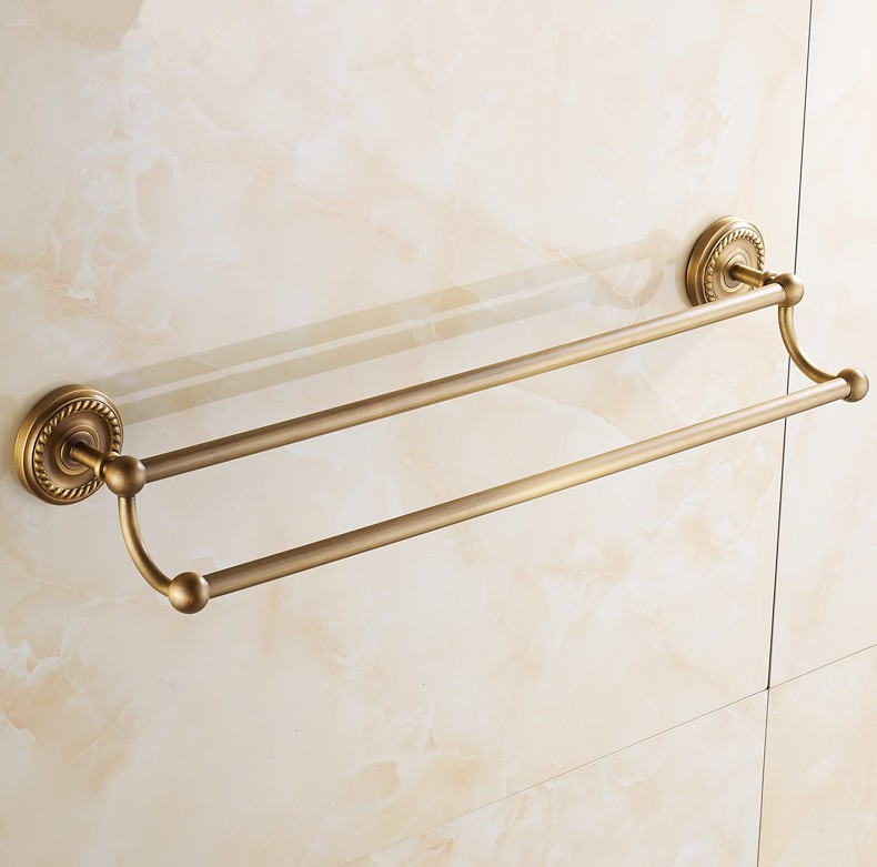 (40-80cm)Bathroom accessories,Brass Material Double Towel Bar&amp;Towel Rack /Antique Brass Finish Vintage Style  Design<br><br>Aliexpress