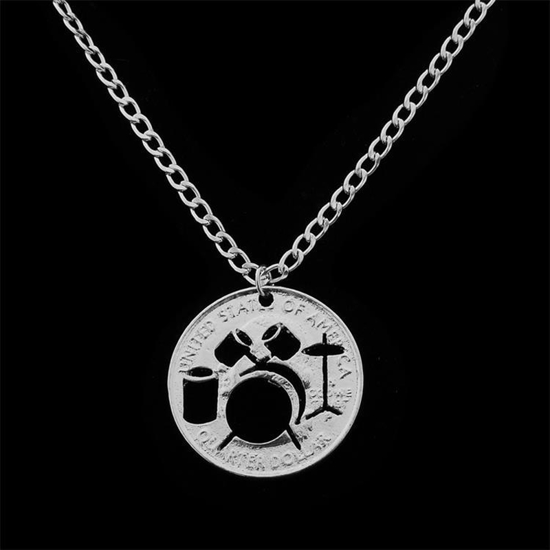 Hollow Drum Set Coin Pendant Necklace Musical Iinstrument Jewelry Gifts Fashion Silver Plated Women Men Coin Drum Kit Necklace(China (Mainland))
