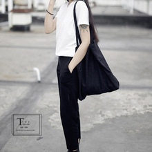 Retail also Wholesale Size W39xH43cm white canvas bag black canvas should bag handbag shopping bag free shipping