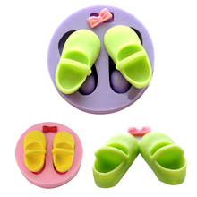 Cute Fashion Silicone shoe typed mold Environmental Friendly Soap Sugar Mold(China)