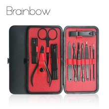 Brainbow 12in1 Nail Manicure Tools Set Kit for Face Nail Toe Nail File Cuticle Pusher Makeup Scissor Nail Clipper Pedicure Sets(China)