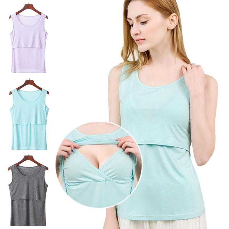 1pcs Modal Breastfeeding Vests Sleeveless Pregnant Women Tops Baby Feeding Clothes Postpartum Ropa Mujer Lactation Summer W3