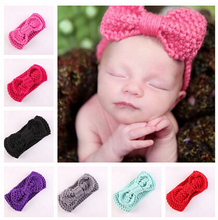 Free Shipping!2015 New 12pcs/lot Winter Baby Children Girls Knit Hairband Crochet warmer Children Bowknot Head wrap Headband