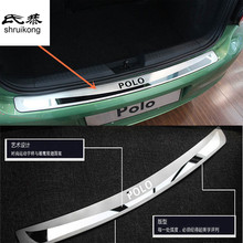 Free shipping 1pc for 2011-2016 Volkswagen VW POLO hatchback Stainless Steel back rear trunk Sill Scuff Plate Protection pedal(China)