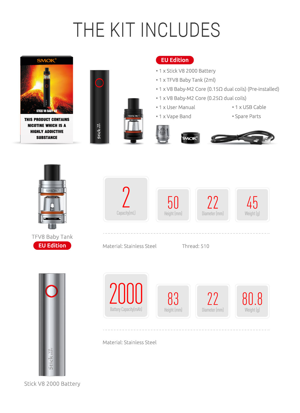 Original SMOK Stick V8 Baby Kit with TFV8 Baby 2ml Tank Atomizer & Built-in 00mAh Battery follow EU TPD Compliant - 13 Colors 4