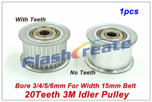 1pcs 20 Teeth 3M Idler Pulley Passive Pulley Bore 3/4/5/6mm For Width 15mm 3M Timing Belt HTD3M Tension Pulley With Bearing(China)