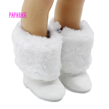 Fashion Mini White Fur&cloth Boots For 18 Inch American Girl Doll Shoes Family Game Doll Ornament Accessories