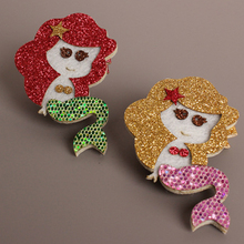 2pcs Glitter Mermaid Hair Clip Gold Red Royal Purple Cartoon Smiley Girl Barrette Felt Starfish Boutique BB Hairpin Hot sale