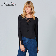 Kinikiss women knitted sweater 11.11 global shopping festival solid black v-neck lace-up short length sexy 2017 new sweaters(China)