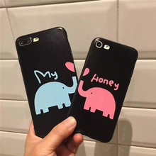 Couples Lovely Cartoon Elephant Case Cover For iPhone 6 Case Soft Silicone Phone Case Funda For iPhone 6 6s plus 7 plus    B82