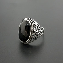 Natural Oval Black Onyx Stone Solid Silver 925 Rings Men Wide Cuff Band 100% Real 925 Sterling Silver Jewelry Male Free Ring Box
