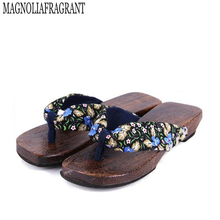 2017 Summer Shoes women sandals Japanese Geta candlenut Clogs slippers shoes Flats Flip Flops sabots Shoe wholesale z549(China)