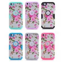 For Coque Ipod Touch 5 Case Silicone 3 in 1 Hard Plastic Front Back Phone Case For Apple Ipod Touch 6 Case Cover Flower Patterns(China)