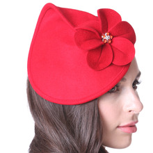 Free Shipping Women Fascinator Hats Party cocktail Hair Accessories Red Fascinator Headband Wool Red