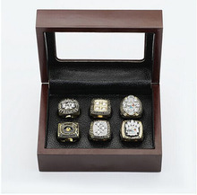 Cost Price Ring sets with Wooden Box Replica Super Bowl Copper High Quality 6pcs/Packs Pittsburgh Steelers Men Championship Ring(China)