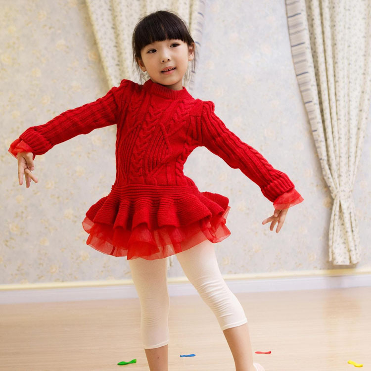 Baby Girl Clothes Christmas Dress 2017 Winter Girls Dresses Pullover O-neck Knitted Sweaters Gown Kids 3-7Y Vestido Infantil<br>