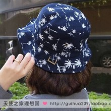 New summer vacation Lovely palm printed casual 100% cotton pots funny green pretty cap custom printed bucket hats free shipping