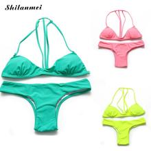 2017 Bikini Women Summer Solid Bikinis Set Green Pink Yellow bathing suit biquini swimsuit women maillots de bain pour femmes