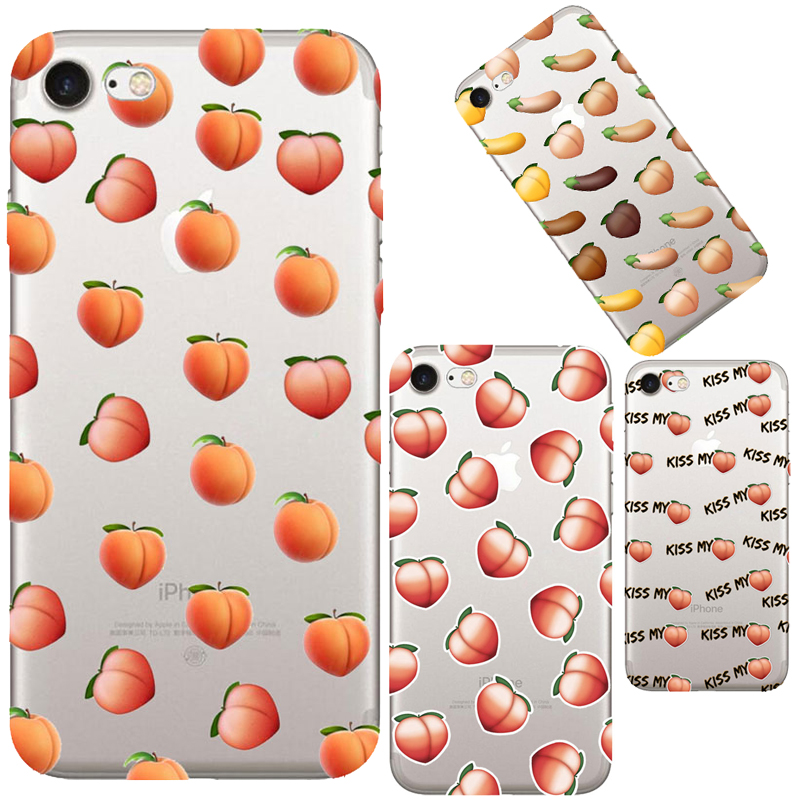 Kylie Jenner's Peach Emoji Case For iphone 6 6S 7 Plus Butts Transparent Clear Silicone TPU Cell Phone Back Cover Cases Fundas(Hong Kong)