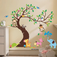 Oversize Cartoon Animal Monkey on Tree Wall Decal Baby Stickers for Kids Room Home Decor(China)
