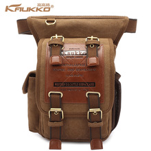 Hot sale kaukko menThick canvas travel shoulder bags vintage unique messenger bags man cross body bag KAUKKO Canvas Leather(China)