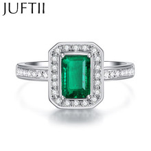 Gold / Rhodium Gold Natural Cushion Cut Emerald CZ Diamond Engagement Ring bijoux Cocktail Rings Wedding Jewelry