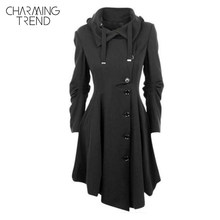 Charmingtrend Jacket 2017 Women New Autumn Solid Black Fold Over Collar  Asymmetric Hem Single Breasted Female Outerwear