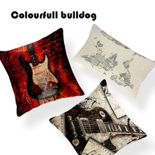 Quirky Music Notes Print Guitar Map Violin Stars Cushion Cover Piano Cojines Camping Rectangle Burlap Lounger Bass Cover Pillow(China)