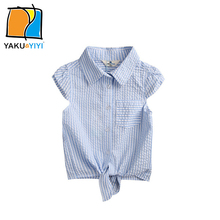 YKYY YAKUYIYI Black & White Stripe Girls Shirt Soft Cap Sleeve Baby Girls Blouse Self-Tie Hem Children Shirt Girls Clothing