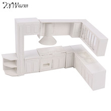 Kiwarm 16pcs White Miniature Doll House Kitchen Furniture Cabinet Cupboard Closet Set For Kids Play Toys Children Gift Ornament