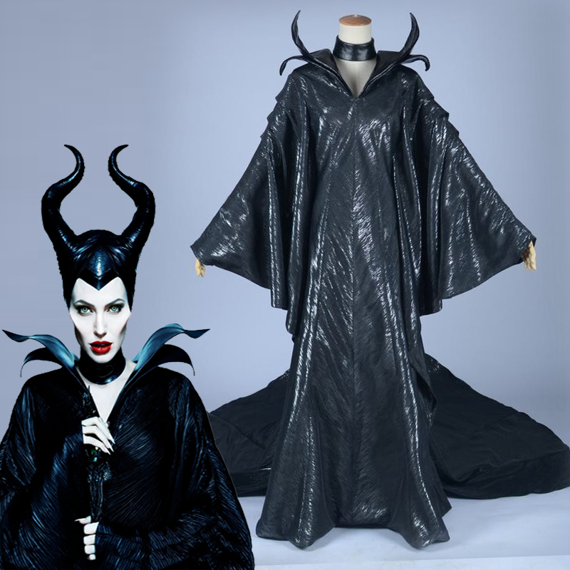 American Movie Maleficent Cosplay Costume Halloween Carnival Black Witch Queen Dresses Women Uniforms Custom Made