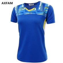 AXFAM Women Tennis Shirts Breathable Quick Dry V-neck Sports outdoor Shirt High-quality Badminton Table Tennis clothing NM052