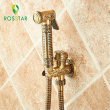 Free Shipping Antique Solid Brass Bathroom Bidet Faucet Flower Carved Toilet Clearing Hand Shower Mop Faucet Tap(China)