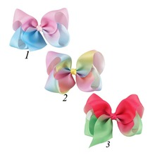 2017 5Inch Rainbow Hair Bows Boutique Big Grosgrian Knotted Bows Hair Clips Girls Children Birthday Gift 3Pcs/lot