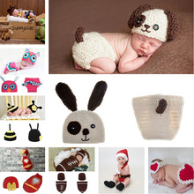 Lovely Puppy Dog Design Crochet Baby Hat Beanie Pants Set Infant Boy Animal Costume Newborn Outfits 1set MZS-15007(China)