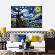 Famous Art Replicate Starry Night By Van Gogh - Museum Quality Hand Painted Impressionist Oil Painting On Canvas