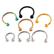 10PCS Steel Nostril Nose Ring Horseshoe Earrings Circular Barbell Piercing Ball Horseshoe Rings CBR Ring Earring Body Jewelry(China)