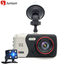 "Junsun 4.0"" IPS Car DVR camera dash cam automobile video recorder Full HD 1920*1080P Dual Lens camera DVRs recorder(China)"