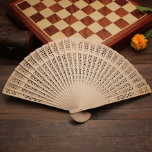 1 pcs Charming Women Vintage Style Wooden Art Carved Wedding Party Folding Hand Fan Fashion