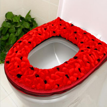 Good quality Winter warm thickening Velvet Zipper luxury toilet seat cover bathroom WC leather waterproof potty mat pad SWZ007(China)