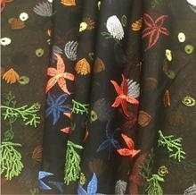 Black Mesh Couture Fashion Fabric Vogue Embroidery Colorful Starfish Sew Skirt Dress Craft snail shells and starfish grass coral(China)