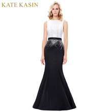 Kate Kasin Long Sequins Mermaid Evening Dresses Party Elegant Vestido De Festa Prom Dresses 2017 Robe de Soiree Black White Gown
