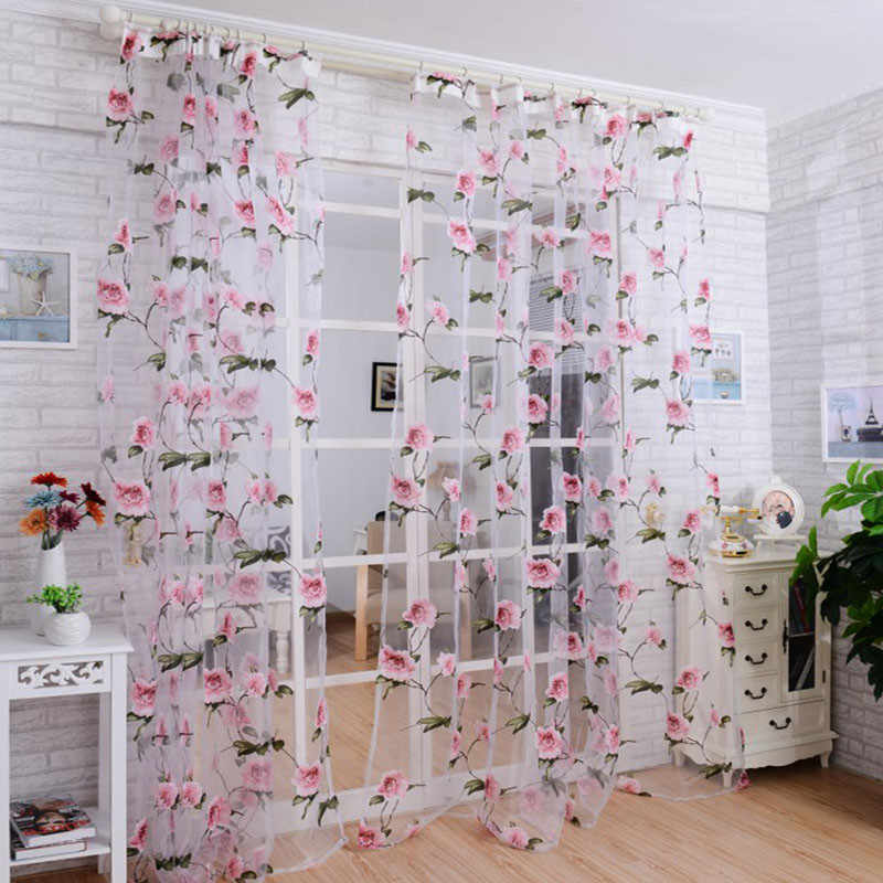 Hot Sale Brilliant Peony Tulle Window Screens Door Balcony  Luxury  Curtain Living Room  Sheer Cover PK Home Decor High Quality