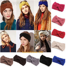 M MISM 2017 Big Bow Fish Bones Winter Girl Knit Headbands Wool Warm Crochet Elastic Hair Band Handmade Turban Wide Size Headwear(China)