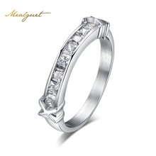 Meaeguet Fashion bright CZ stone engagement ring for silver color stainless steel rings for women wedding jewelry gift